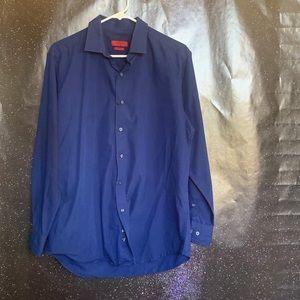 Alfani- Dark Blue Button up Long Sleeve Shirt M
